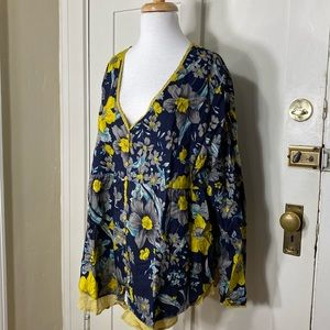 Gracila Navy yellow floral blouse NWT